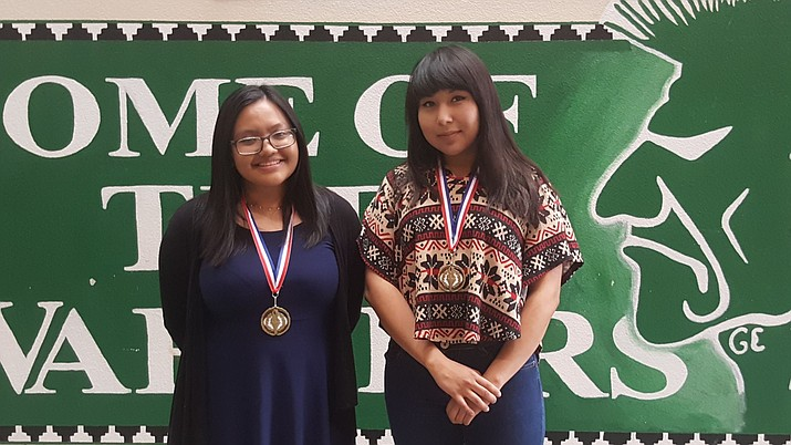 Tuba City High School seniors Glenice Pesodas and Kristina Blackhair won first place in the job skills category at the Native Skills competition held in Chinle, Arizona. Rosanda Suetopka/NHO