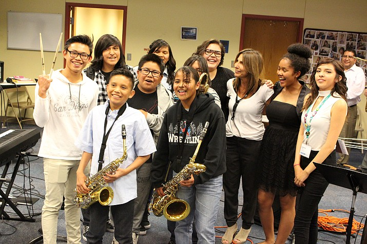 Hopi High music students pose with internationally acclaimed blues musician Deanna Bogart, who spent a week working with students before wrapping up with a concert at the school. Photo/Stan Bindell