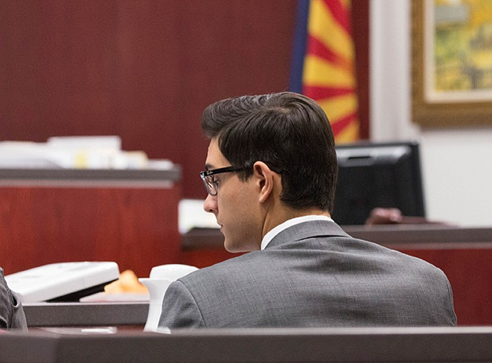 This file photo, provided by Halie Chavez, shows former Northern Arizona University student, Steven Jones during closing statements in Flagstaff.  (Halie Chavez/The Lumberjack via AP, File)