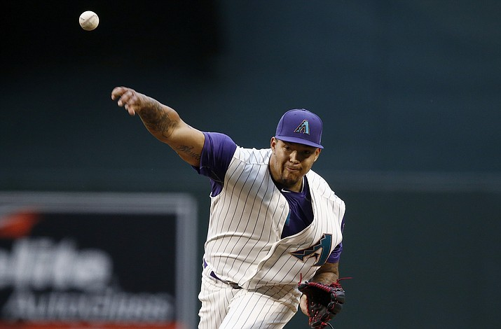 Arizona Diamondbacks' Taijuan Walker throws a pitch against the San Diego Padres during the first inning of a baseball game Thursday, April 27, in Phoenix. (Ross D. Franklin/AP)