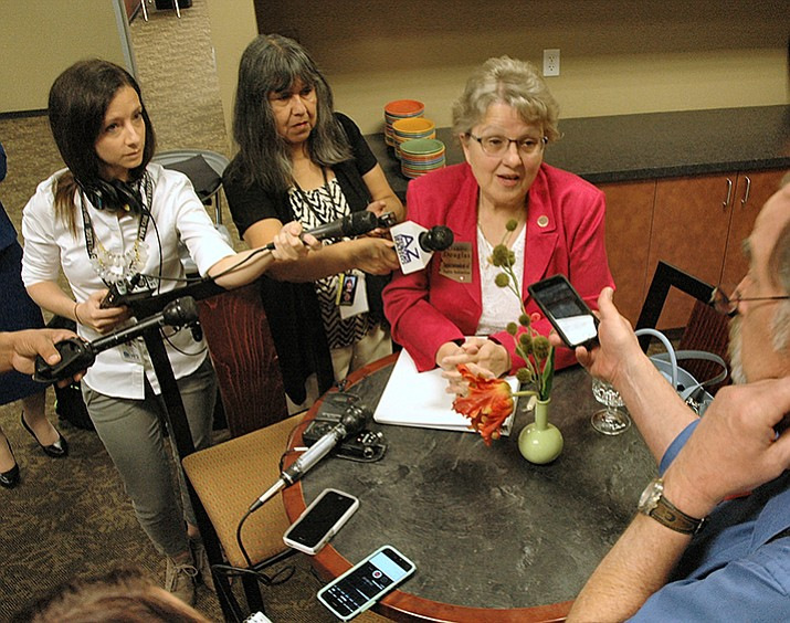 State schools chief Diane Douglas discusses her proposal Thursday to increase state sales taxes to fund teacher salaries. (Capital Media Services/Courtesy)