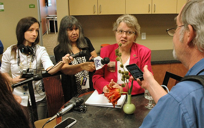 State schools chief Diane Douglas discusses her proposal Thursday to increase state sales taxes to fund teacher salaries. (Capitol Media Services photo by Howard Fischer)