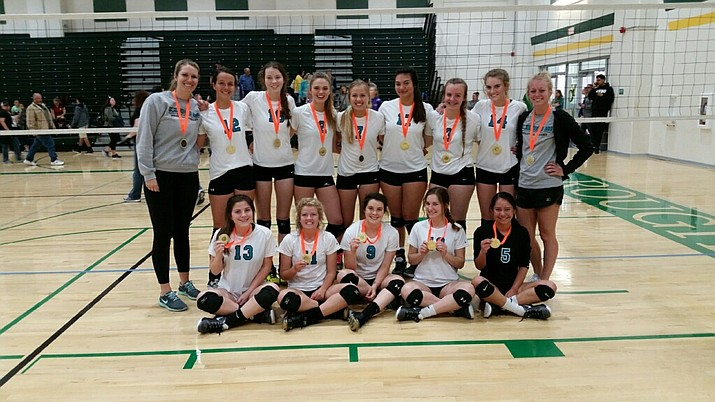 Members of the Northern Ace Volleyball Academy (NAVA) 18 Black team, from left, in the top row: assistant coach Brittany Wise, Sydney Rittershaus, Dani Dreher, Savanna James, Tessa Rothfuss, Madison Wood, Jordyn Moser, Daphne Skinner and assistant coach Becca Long. In the bottom row: Bethany Dillon, Josie Cutlip, Emma Kelly, Angelina Jennison and Sabina Dimaano-Simmons. Not pictured: head coach Shawna Guffey. (Northern Ace Volleyball Academy/Courtesy)