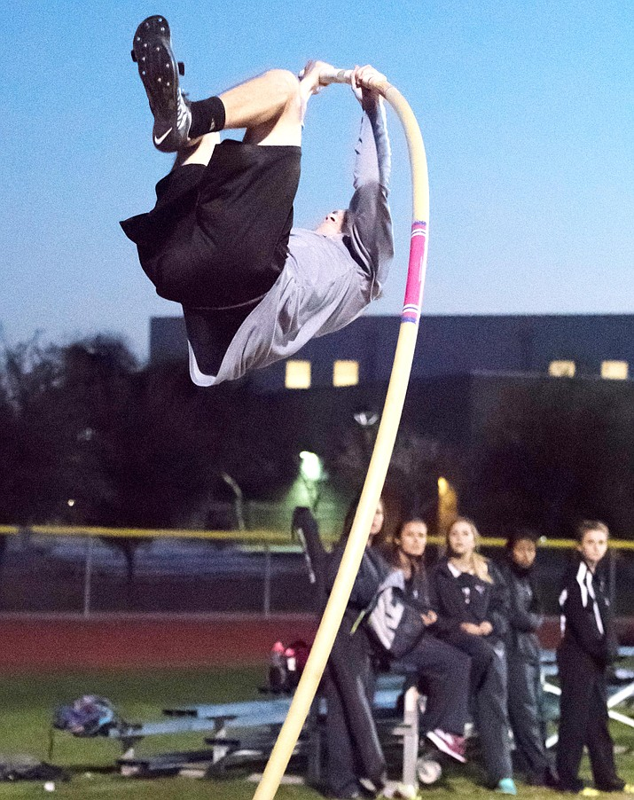 Valley Vista High School's Cole Riddle added a quarter-inch to the Arizona high school state record in the pole vault with a jump of  17-feet, 5-inches in Wednesday's Last Chance Meet at Desert Vista High School. Photos courtesy of Elliott Glick and YourWestValley.com