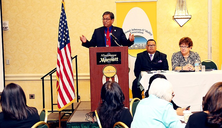 During a recent conference held at the Albuquerque Marriott, President Russell Begaye addressed the issue of keeping tribal languages alive. Photo courtesy of Navajo Nation