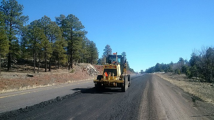 A photo from 2016 shows ADOT working on a paving project on I-40. ADOT is planning the  first of two paving projects to take place between Flagstaff and Williams