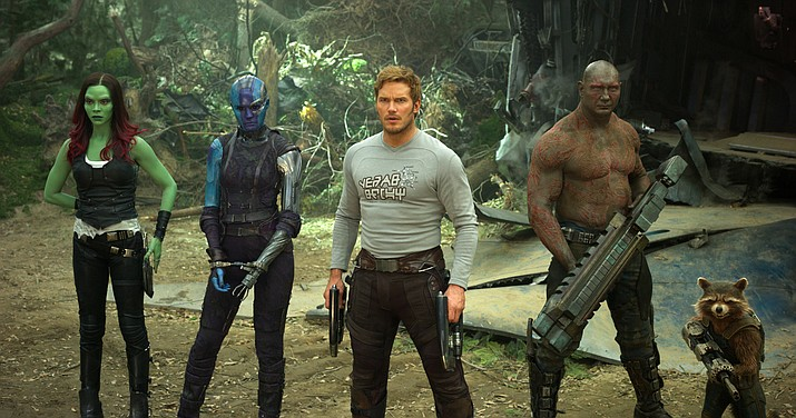 "This image released by Disney-Marvel shows Zoe Saldana, from left, Karen Gillan, Chris Pratt, Dave Bautista and Rocket, voiced by Bradley Cooper, in a scene from, ""Guardians Of The Galaxy Vol. 2."""