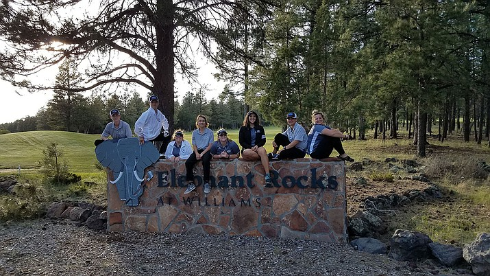 The Kingman Academy golf team poses at the Elephant Rock Golf Course in Williams.