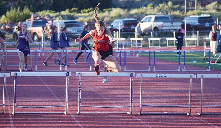 Mingus Union junior Hannah DeVore will compete in the 100m hurdles, the 300m hurdles, the 4x100 relay and the 4x400 relay at the Division III state championship at Mesa Community College this weekend. After starting the season injured, she said she is back to 100 percent. (VVN/James Kelley)
