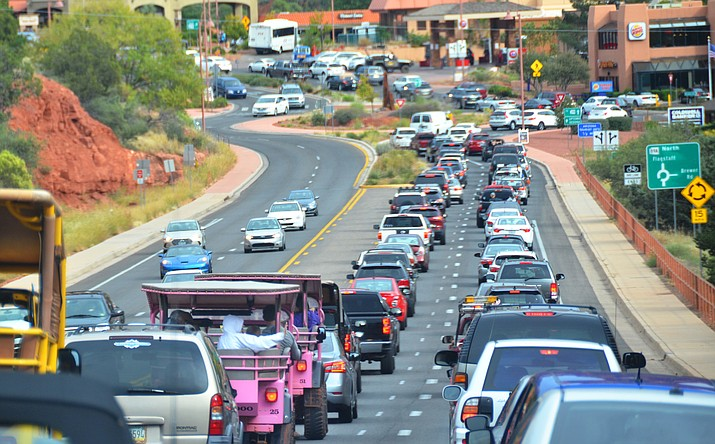 Traffic through Sedona often chokes the main thoroughfare through town as tourist flood the city on busy weekends. VVN/Vyto Starinskas
