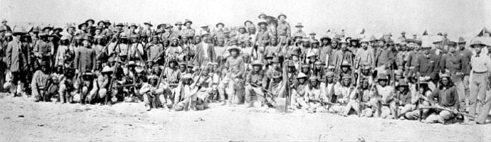 Members of Crook's Expedition into the Sierra Madres of Mexico.  (U.S. Army Signal Corps photo 82334.)