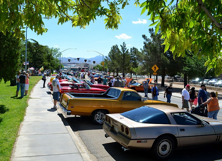 The west end of Route 66 across from the Powerhouse was packed before 10 a.m. Saturday.