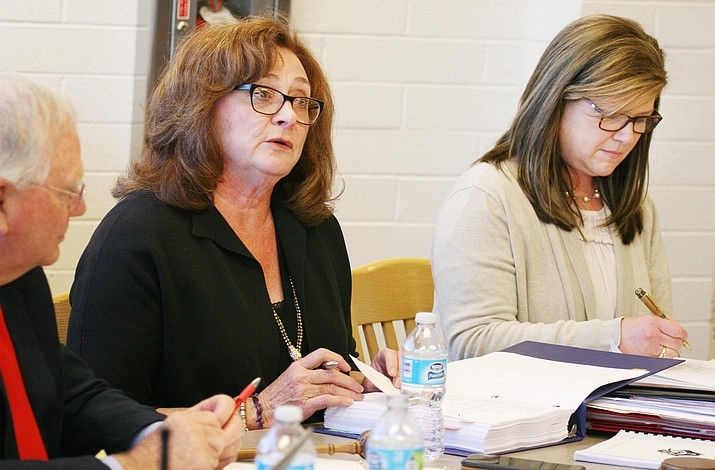 Mingus Union High School District board members Anita Glazar and Lori Drake, from left, attended the May 2 Cottonwood-Oak Creek School District special meeting to discuss the pros and cons of district consolidation/unification. (Photo by Bill Helm)