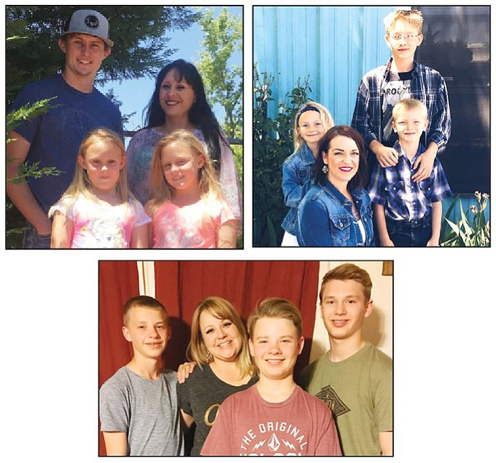 Top left: Jennifer Hutchinson with son Hunter, Alexandra and Andria. Top right: Ashley Funkhauser with Colton, and twins Brody and Emma.  Below, Jen Stevenson with twins Craig and Cory and older brother Clayton.