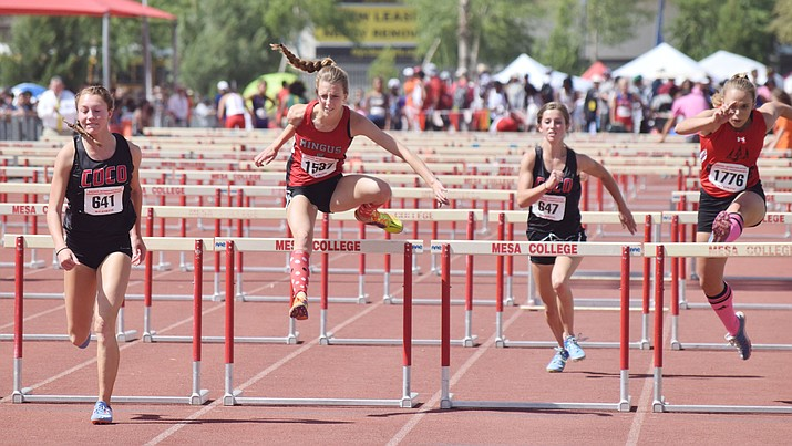 Mingus Union junior Hannah DeVore finished fifth in the 100m hurdles at the Division III state championship at Mesa Community College on Saturday (VVN/James Kelley)