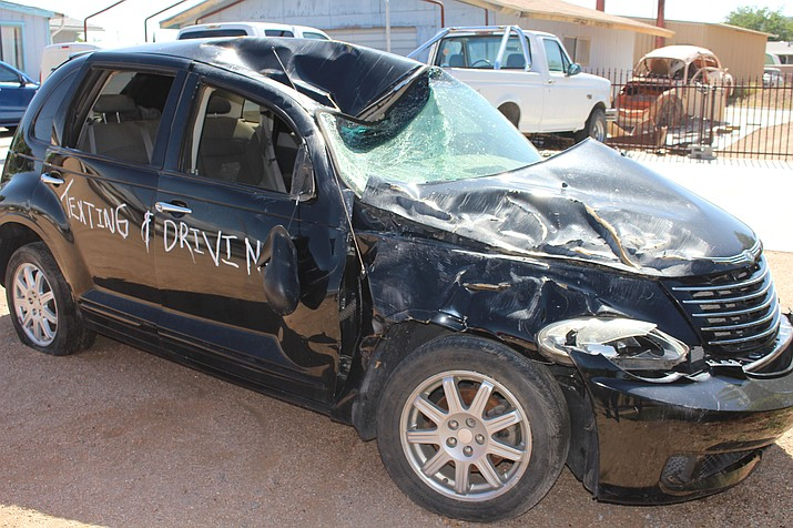 Julie Swope wants people to know what happened to her daughter, Megan, who was a passenger in this 2007 PT Cruiser when it crashed and rolled on Pierce Ferry Road in Dolan Springs on Oct. 3.