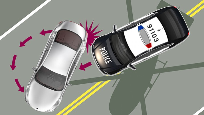 The PIT maneuver requires a pursuing police vehicle to come up very close to the fleeing vehicle, and then bump it in the rear-quarter panel, which (theoretically) causes the suspect's car to spin out and sometimes stall.