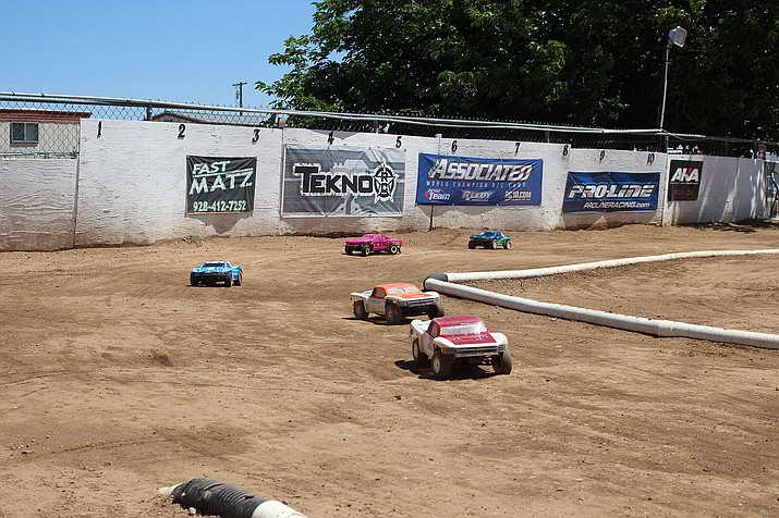 Cars begin a race Saturday at the D & D Remote Control Racing track on North Arizona Street.