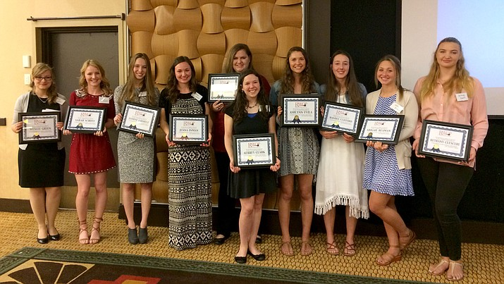 The Republican Women of Prescott handed out $15,000 in scholarships at its May 15 luncheon at the Prescott Resort. From left are Weslee Green, AAEC; Sarah Schott, PHS; Jasmine Zahorecz, PHS; Jenna Inman, BASIS; Rebekah Francis, Tri-City Prep; Aubrey Clark, PHS; Ashlynn Uvila, PHS; Randee Clifford, BMHS; Abigail Beaman, Tri-City Prep; and Bethany Clesceri, AAEC.