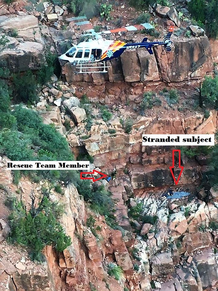 Sunday at sunrise, emergency crews returned to the rescue of an injured Phoenix man who had been hiking alone Saturday in Sycamore Canyon.   (Photo Courtesy of YCSO)
