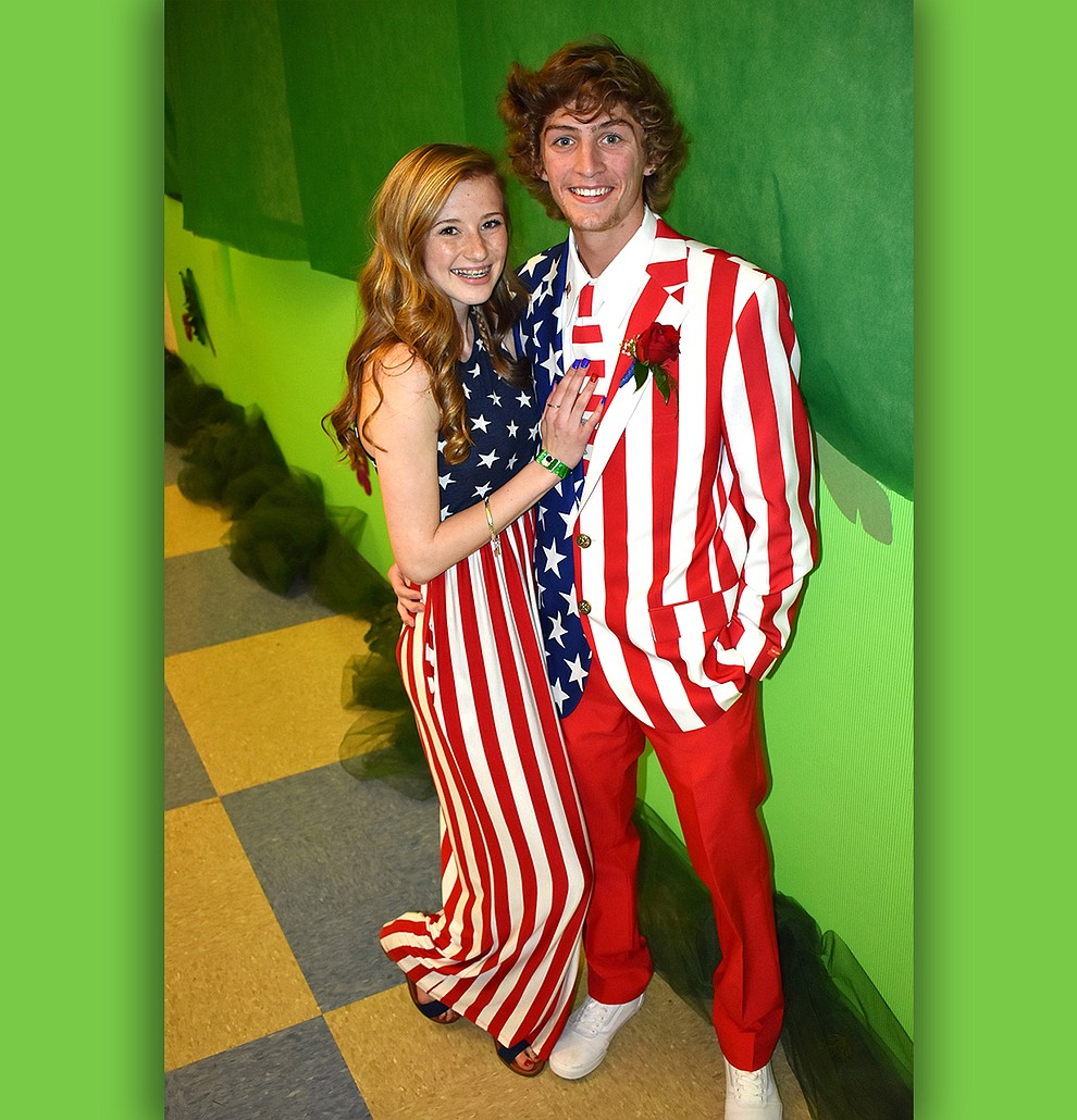 Nikala Calia, 16, and Blake Huntley, 18, turned heads at the Bradshaw Mountain High School prom Saturday night, May 13, 2017 when they showed up in Stars and Stripes formalwear.