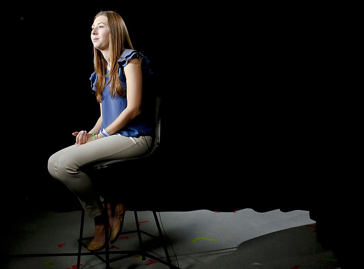 Kaitlyn Tempalsky, 20, a college sophomore speaks about her boyfriend Timothy Piazza during a May 15 interview in New York. Piazza, 19, a Penn State sophomore died in February after he was put through a hazing ritual at his fraternity house and forced to drink dangerous amounts of alcohol in a short amount of time. (AP Photo/Bebeto Matthews)