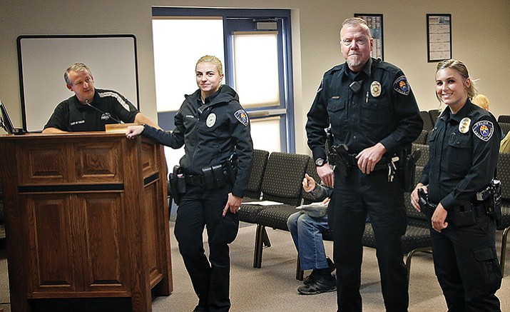 Chino Valley Police Chief Charles Wynn (left) introduces three new police officers to the Town Council. They are (from left) Officer Sofia Newton, Officer Jay Murray, Officer Tiffany Farmer. (Matt Santos/Town of Chino Valley)