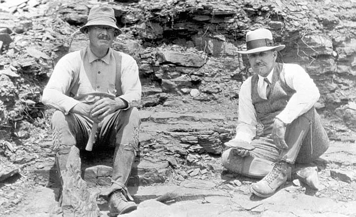 Grand Canyon National Park paleontologists Dr. David White (left) and Dr. John Merriam (right) take a break from their work at the the Cedar Ridge Fossil Quarry near South Kaibab Trail circa 1927.