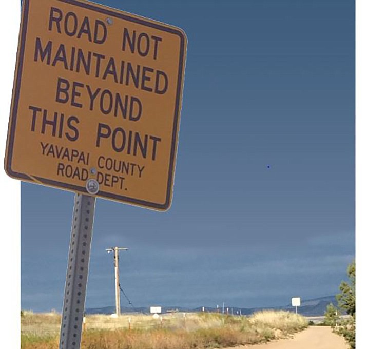 West Antelope Drive near Chino Valley is a county road in such bad shape that signs warn drivers at both entrances. (Sue Tone/Review)