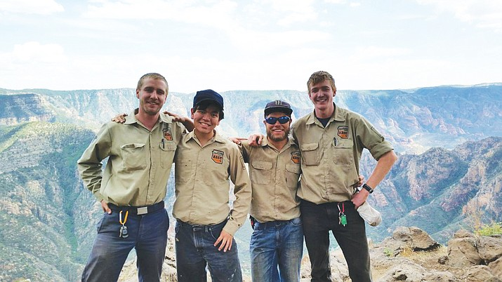 Williams student Tyler Smith and other students take a break from YCC work at the Grand Canyon during the summer of 2016.