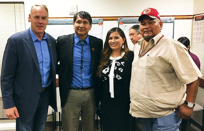 Navajo Nation Vice President Jonathan Nez, Attorney General Ethel Branch and Council Delegate Davis Filfred stand with Interior Secretary Ryan Zinke on his site visit to Bears Ears National Monument May 7. Photo/Rick Abasta