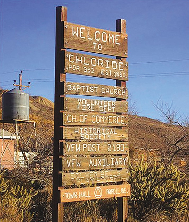 Chloride's town sign.