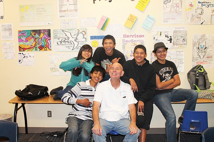 Former Hopi Junior High teacher Dennis Williams hangs out with students Megan Kaye, Adam Harvey, Aiden Puhuyesva, Marcus Navenma and Simon Seeyouma. Stan Bindell/NHO