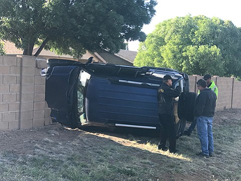 A loose cat reportedly caused the driver of this vehicle to lose control and strike a brick wall on Viewpoint Drive on Monday, May 15, in Prescott Valley. (Les Stukenberg/Courier)