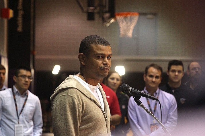Suns coach Earl Watson talks to reporters after the team's exit interviews at Talking Stick Resort Arena in Phoenix. The Suns received the No. 4 pick Tuesday during the NBA Draft lottery.