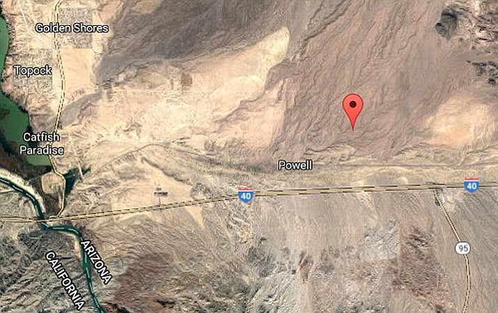 The approximate location of Monday's shooting at a home in Topock, Arizona.