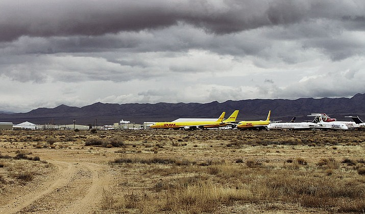 Parked planes at Kingman Airport.