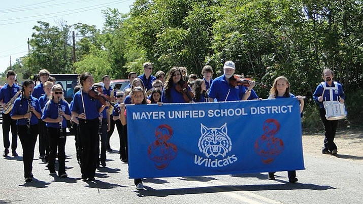 The marching band for Mayer schools walks during the Mayer Daze Parade on May 13. (Pat Williamson/Courtesy)