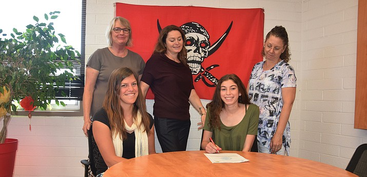 Mingus Union senior Rachel Valentine signed with Lyndon State College on Monday morning at Mingus Union. Lyndon State is an NCAA Division III school in Lyndonville, Vermont. (VVN/James Kelley)