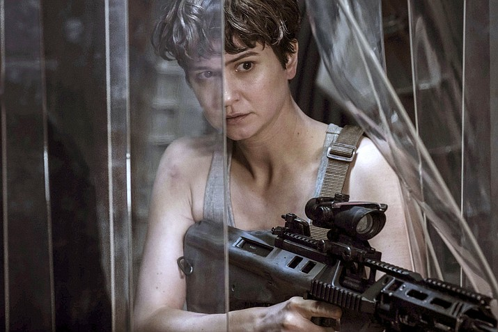 "This image released by Twentieth Century Fox shows Katherine Waterston in a scene from ""Alien: Covenant."""