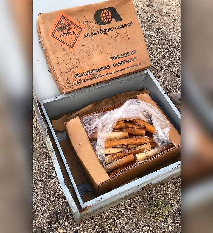 A box of dynamite was discovered by two hikers on a trail in the Skull Valley area May 17. (YCSO/Courtesy)