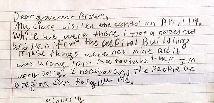 Gov. Kate Brown on Thursday tweeted out a photo of the boy's apology letter along with the hashtag #cutestmailever and the caption, 'I think we can forgive Samuel, don't you think, Oregonians?'