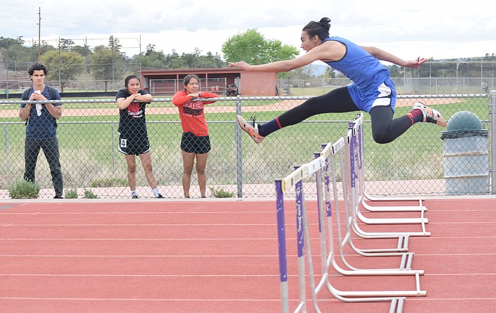 Camp Verde sophomore Chris Holdgrafer set a personal record in the 110m hurdles, 16.00, at the AZ Meet of Champions at Brophy. The meet was featured the best athletes from all four divisions in the state. (VVN/James Kelley)