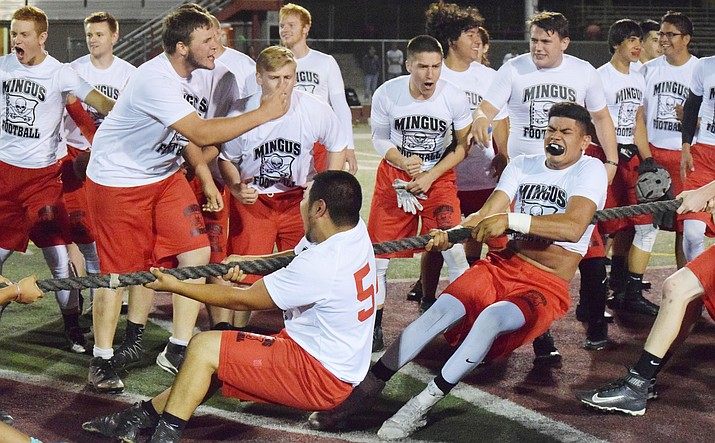 Current Mingus Union football players battle the alumni team in tug of war after the Marauders' spring football game. The 2017 Mingus Union team faced off against a team of Marauder alumni and seniors from the 2016 squad. (VVN/James Kelley)