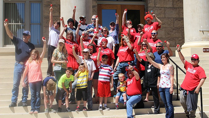 A group of Red Nose Day supporters gathered Sunday at the Mohave County Courthouse.