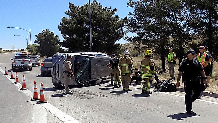 Kingman Police at an accident near Andy Devine Avenue and Interstate 40.