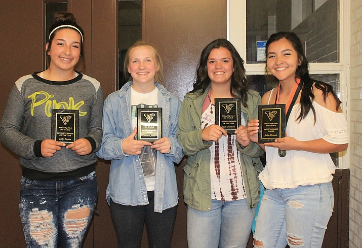 Jazlyn Romero, Maddie Jensen, Carli Grantham and Jaden Alvarado received softball awards at the Williams High School spring sports awards banquet.