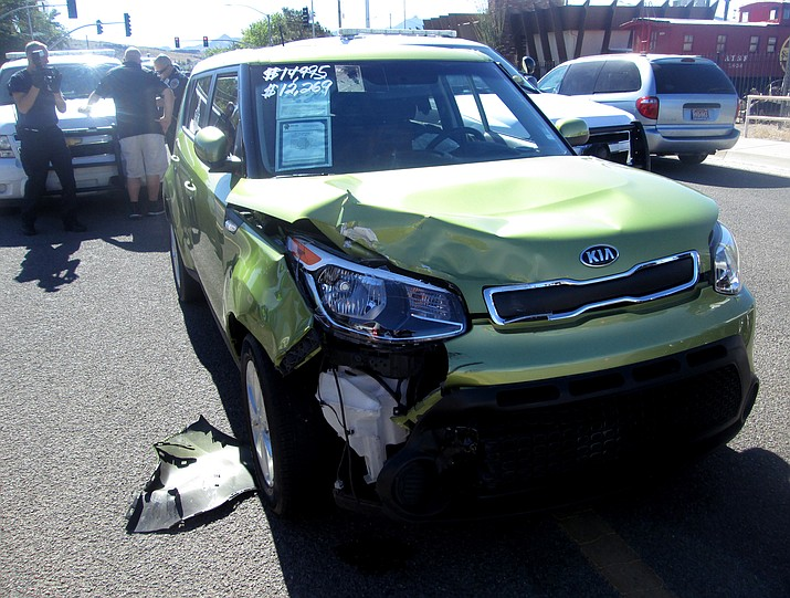 The stolen Kia Soul at rest after becoming disabled after colliding with a total of three police units.