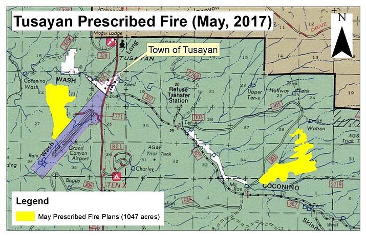 The Reed and Flying J prescribed burns will continue through the week to the east and west of Tusayan on the Kaibab National Forest.