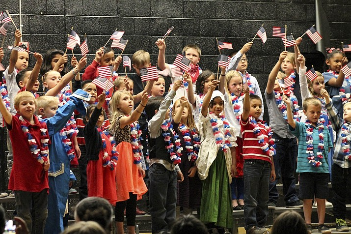 Students from a Williams Elementary-Middle School's first grade class celebrate the end of year with a Betsy Ross performance at Parenteau Auditorium May 16.